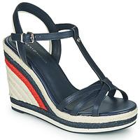 Pantofi Femei Sandale  Tommy Hilfiger TOMMY STRAPPY HIGH WEDGE Albastru