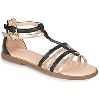Pantofi Fete Sandale  Geox SANDAL KARLY GIRL Negru / Auriu