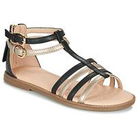 Pantofi Fete Sandale și Sandale cu talpă  joasă Geox J SANDAL KARLY GIRL Negru / Auriu