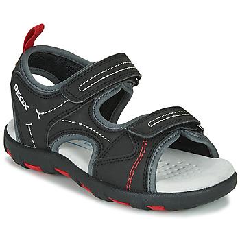 Pantofi Băieți Sandale sport Geox JR SANDAL PIANETA Negru / Roșu