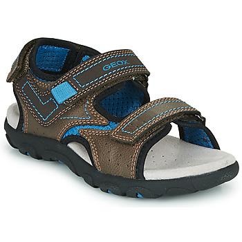 Pantofi Băieți Sandale sport Geox JR SANDAL STRADA Maro / Albastru