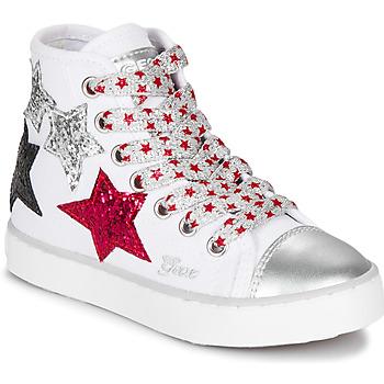 Pantofi Fete Pantofi sport stil gheata Geox JR CIAK GIRL Alb / Roșu / Negru