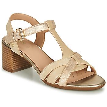 Pantofi Femei Sandale  Geox D MARYKARMEN MID SAN Bej / Auriu