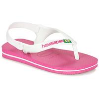 Pantofi Fete  Flip-Flops Havaianas BABY BRASIL LOGO II Pink / White