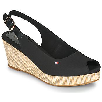Pantofi Femei Sandale  Tommy Hilfiger ICONIC ELBA SLING BACK WEDGE Black