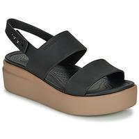Pantofi Femei Sandale  Crocs CROCS BROOKLYN LOW WEDGE W Negru / Camel