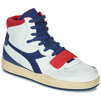 Pantofi Bărbați Pantofi sport stil gheata Diadora MI BASKET USED Alb / Albastru / Roșu