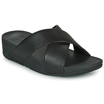 Pantofi Femei Papuci de vară FitFlop LULU CROSS SLIDE SANDALS - LEATHER Negru