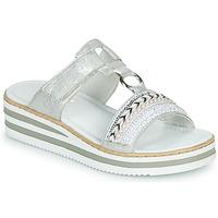 Pantofi Femei Papuci de vară Rieker CLOZ Argintiu / Alb