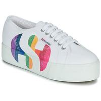 Pantofi Femei Pantofi sport Casual Superga 2790-COTWPRINTEDLOGOGLITTER Alb