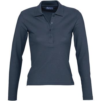 Îmbracaminte Femei Tricou Polo manecă lungă Sols PODIUM COLORS Azul