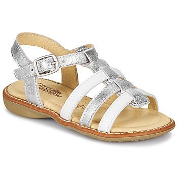 Pantofi Fete Sandale  Citrouille et Compagnie GROUFLA Argintiu / Alb