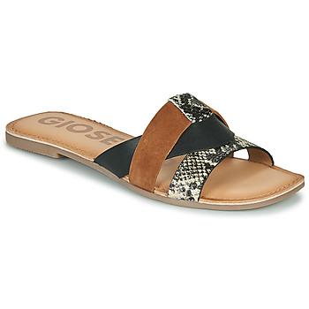Pantofi Femei Papuci de vară Gioseppo LANTANA Negru / Coniac