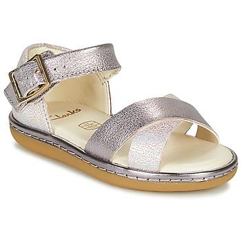 Pantofi Fete Sandale  Clarks SKYLARK PURE T Argintiu / Roz