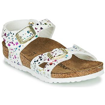 Pantofi Fete Sandale  Birkenstock RIO Alb / Multicolor