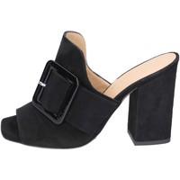 Pantofi Femei Papuci de vară Broccoli sandali camoscio Nero