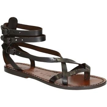 Pantofi Femei Sandale  Gianluca - L'artigiano Del Cuoio 564 D MORO CUOIO Testa di Moro