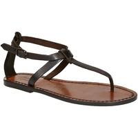 Pantofi Femei Sandale  Gianluca - L'artigiano Del Cuoio 582 D MORO CUOIO Testa di Moro