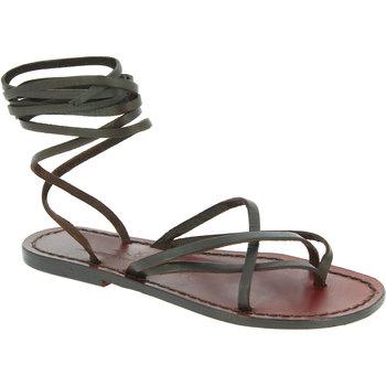 Pantofi Femei Sandale  Gianluca - L'artigiano Del Cuoio 514 D MORO CUOIO Testa di Moro