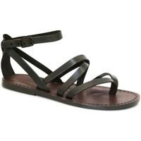 Pantofi Femei Sandale  Gianluca - L'artigiano Del Cuoio 584 D MORO CUOIO Testa di Moro