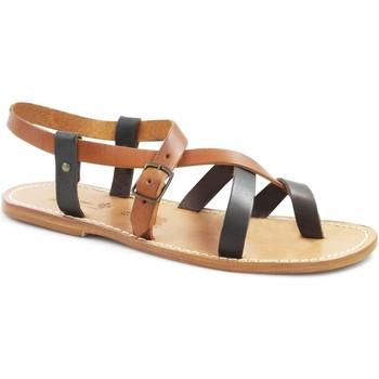 Pantofi Femei Sandale  Gianluca - L'artigiano Del Cuoio 530 U MORO-CUOIO LGT-CUOIO Testa di Moro