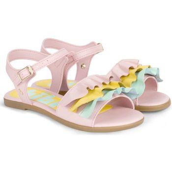 Pantofi Fete Sandale  Bibi Shoes Sandale Fete Bibi Fresh Roz Cu Volane Colorate Roz