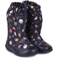 Pantofi Fete Cizme Bibi Shoes Cizme Fetite Bibi Rainbow Naval Cu Imprimeu Bleumarin