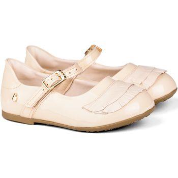 Pantofi Fete Balerin și Balerini cu curea Bibi Shoes Balerini Anjos Mini Sampanie Cu Volane Crem