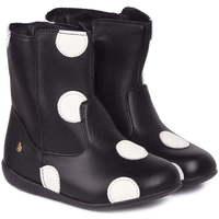 Pantofi Fete Ghete Bibi Shoes Gheata Fetite Bibi Rainbow Negre Cu Buline Albe Negru
