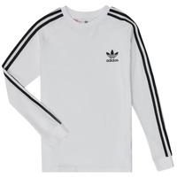 Îmbracaminte Băieți Tricouri cu mânecă lungă  adidas Originals 3STRIPES LS Alb