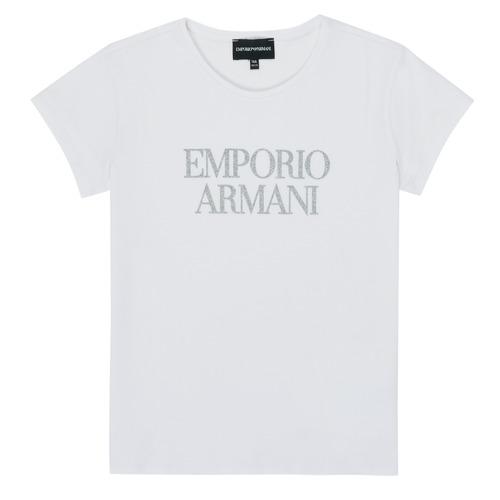 Îmbracaminte Fete Tricouri mânecă scurtă Emporio Armani 8N3T03-3J08Z-0100 Alb