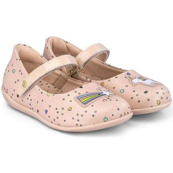 Pantofi Fete Balerin și Balerini cu curea Bibi Shoes Balerini Fete Bibi Rainbow Mini Happy Place Camelia Roz