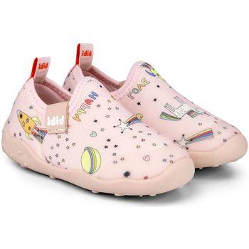 Pantofi Fete Pantofi Slip on Bibi Shoes Pantofi Fete Bibi FisioFlex 4.0 Happy Place Camelia Lycra Roz