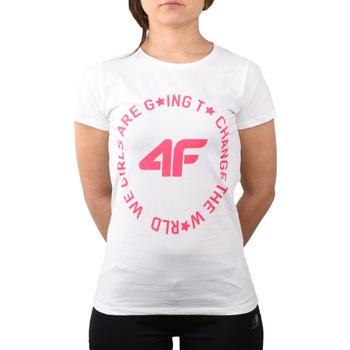 Îmbracaminte Fete Tricouri mânecă scurtă 4F Girl's T-shirt Blanc