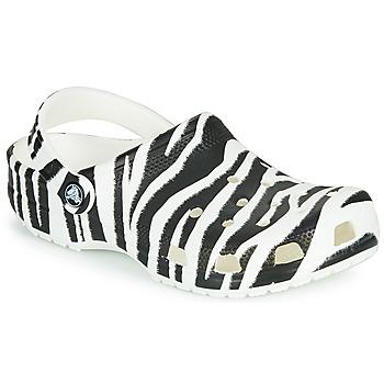 Pantofi Femei Saboti Crocs CLASSIC ANIMAL PRINT CLOG Zebra