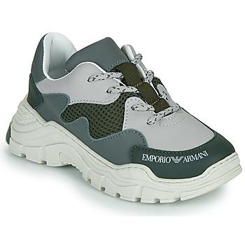 Pantofi Copii Pantofi sport Casual Emporio Armani XYX008-XOI34 Verde / Gri