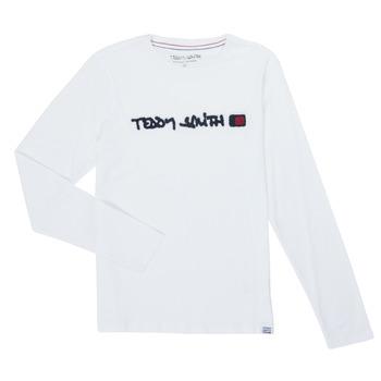 Îmbracaminte Băieți Tricouri cu mânecă lungă  Teddy Smith CLAP Alb