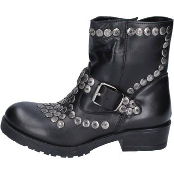 Pantofi Femei Botine Brawn's stivaletti pelle borchie Nero