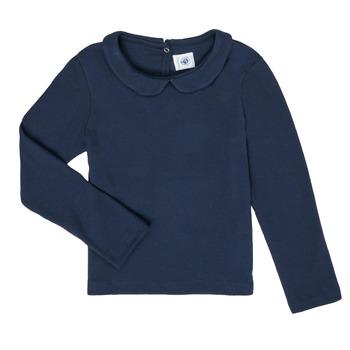 Îmbracaminte Fete Tricouri cu mânecă lungă  Petit Bateau LOVING Albastru