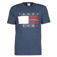 Îmbracaminte Bărbați Tricouri mânecă scurtă Tommy Jeans TJM PLAID CENTRE FLAG TEE Albastru