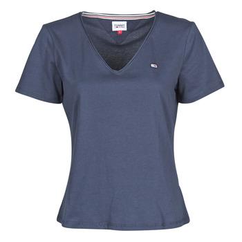 Îmbracaminte Femei Tricouri mânecă scurtă Tommy Jeans TJW SLIM JERSEY V NECK Albastru