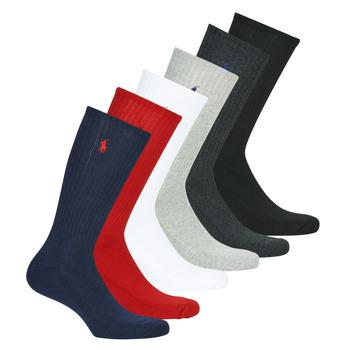 Accesorii Bărbați Sosete Polo Ralph Lauren ASX110 6 PACK COTTON Negru / Roșu / Albastru / Gri / Gri / Alb