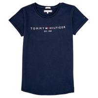 Îmbracaminte Fete Tricouri mânecă scurtă Tommy Hilfiger KG0KG05242-C87 Bleumarin