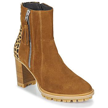Pantofi Femei Botine Philippe Morvan LOKS V1 VELOURS CAMEL/LEOP Maro / Leopard