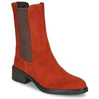Pantofi Femei Ghete Regard DAMGAN V2 VELOURS CHATAIGNE Roșu