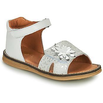 Pantofi Fete Sandale  GBB SATIA Alb / Argintiu