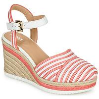 Pantofi Femei Sandale  Geox D PONZA Roșu / Alb
