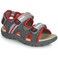 Pantofi Băieți Sandale  Geox JR SANDALE STRADA Gri / Roșu