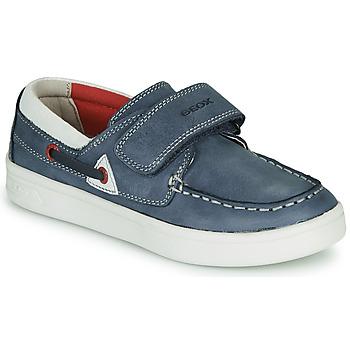 Pantofi Băieți Mocasini Geox J DJROCK GARÇON Albastru / Alb