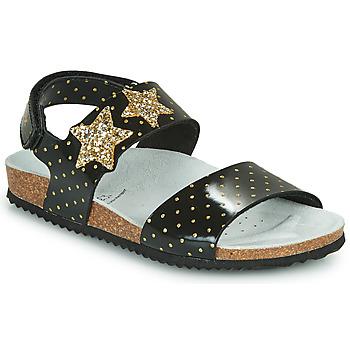 Pantofi Fete Sandale  Geox J ADRIEL GIRL Negru / Auriu